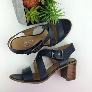 Franco Sarto Navy Leather Heeled Sandals | 6.5